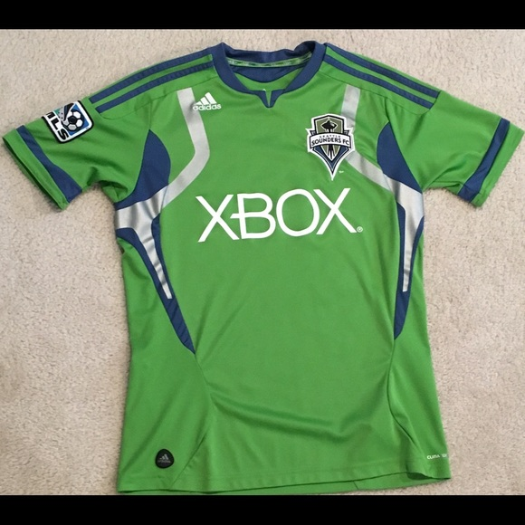 new styles d9ddf bd6db Seattle Sounders Adidas MLS Soccer Jersey Youth M